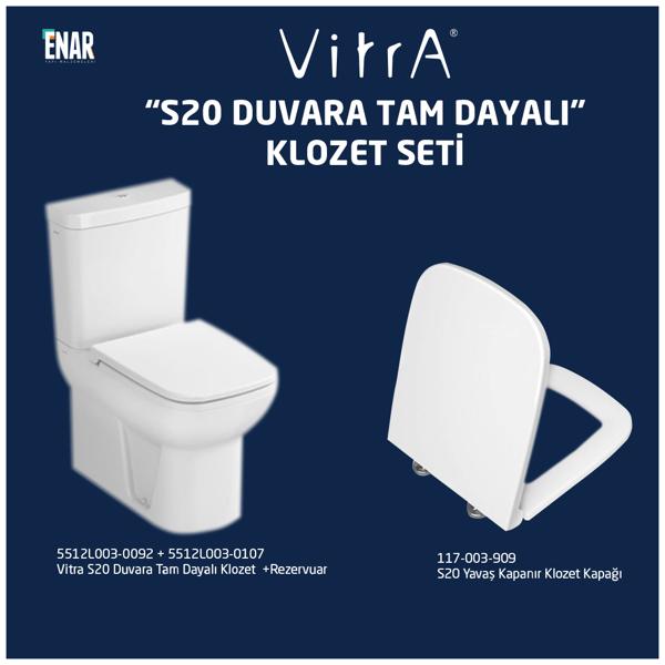 Vitra S20 Duvara Tam Dayalı Klozet Seti, Kapak ve İç Takım Dahil