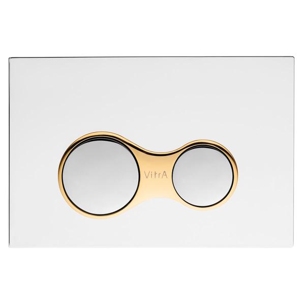 VitrA Sirius 740-0422 Kumanda Paneli,Çift Basmalı, Parlak Krom/Altın
