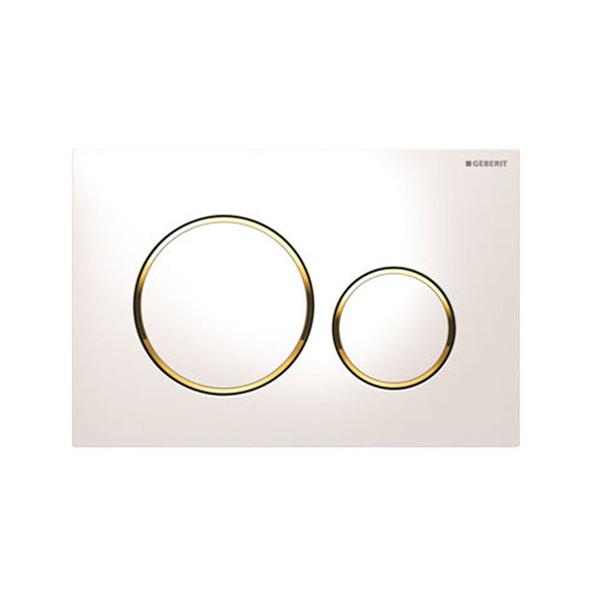 Geberit Sigma20 115.882.KK.1 Kumanda Kapağı,Çift Basmalı,Beyaz/Altın/Beyaz