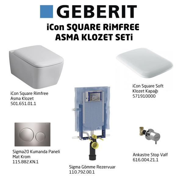 Geberit iCon Square Rimfree Sigma20 Soft Klozet Seti,Mat Krom