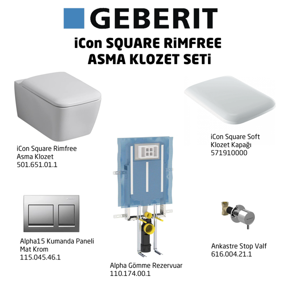 Geberit iCon Square Rimfree Alpha15 Soft Klozet Seti,Mat Krom