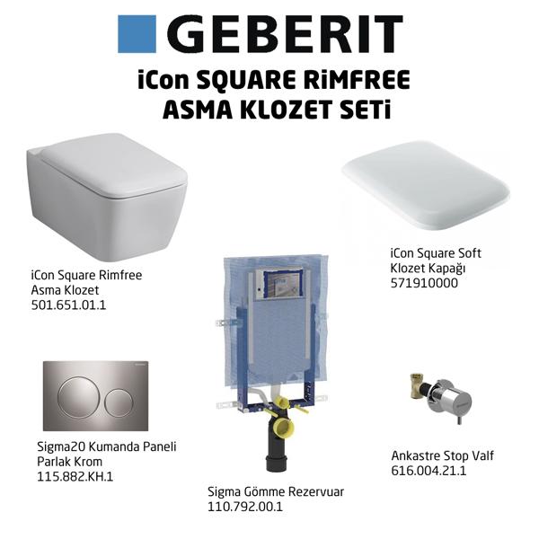 Geberit iCon Square Rimfree Sigma20 Soft Klozet Seti,Parlak Krom